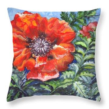 Poppy Brilliance Throw Pillow by Carol Wisniewski