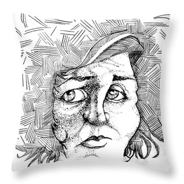 Portait Of A Woman Throw Pillow by Michelle Calkins