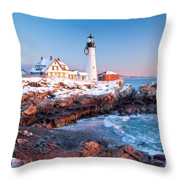 Portland Head Greets The Sun Throw Pillow by Susan Cole Kelly