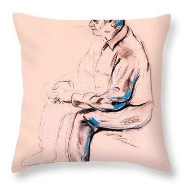 Portrait Of A Senior Man By Ivailo Nikolov Throw Pillow by Boyan Dimitrov