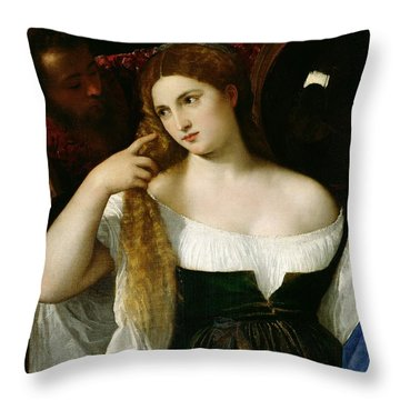 Portrait Of A Woman At Her Toilet Throw Pillow by Titian