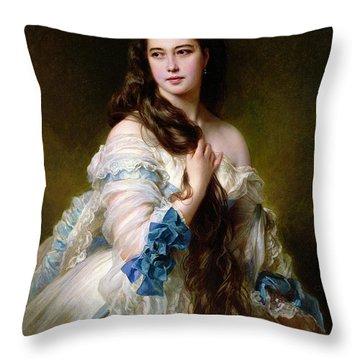 Portrait Of Madame Rimsky Korsakov Throw Pillow by Franz Xaver Winterhalter