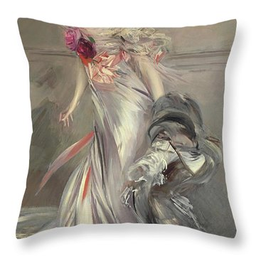 Portrait Of Marthe Regnier Throw Pillow by Giovanni Boldini