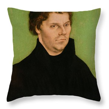 Portrait Of Martin Luther Throw Pillow by Lucas Cranach the Elder