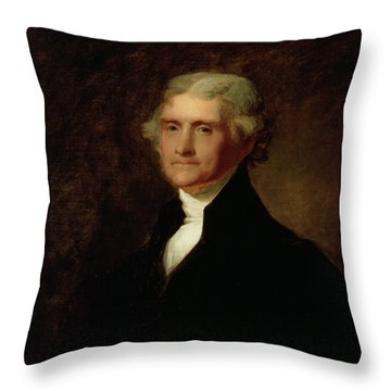 Portrait Of Thomas Jefferson Throw Pillow by Asher Brown Durand