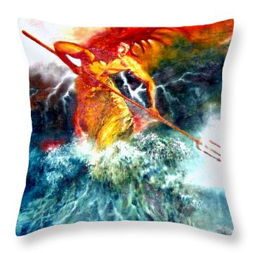 Poseidon Throw Pillow by Henryk Gorecki