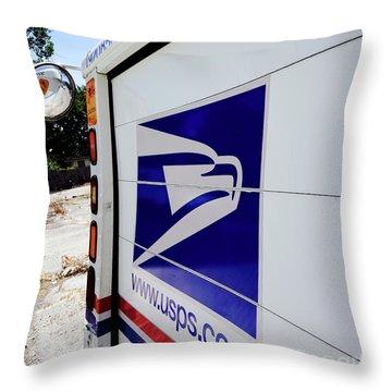 Post Office Truck Throw Pillow by Kenneth Lempert