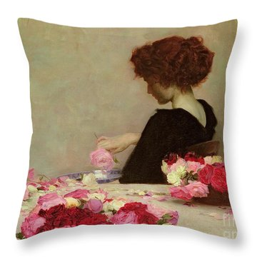 Pot Pourri Throw Pillow by Herbert James Draper