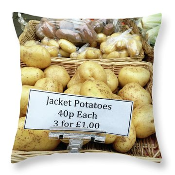 Potatoes At The Market  Throw Pillow by Tom Gowanlock
