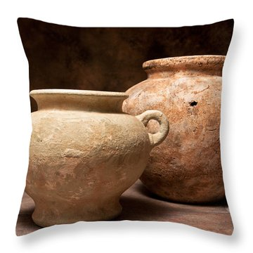 Pottery I Throw Pillow by Tom Mc Nemar