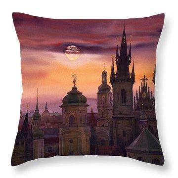 Prague City Of Hundres Spiers Throw Pillow by Yuriy  Shevchuk