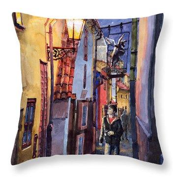 Prague Old Street Golden Line Throw Pillow by Yuriy  Shevchuk