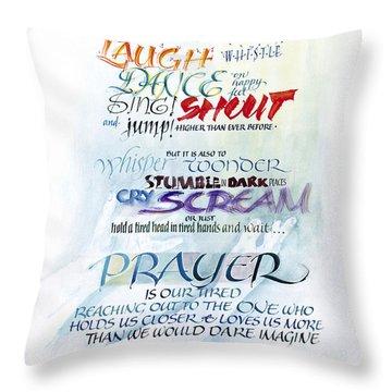 Prayer Throw Pillow by Judy Dodds