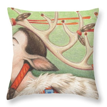 Prayer Of Elk Woman Throw Pillow by Amy S Turner