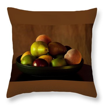 Precious Fruit Bowl Throw Pillow by Sherry Hallemeier