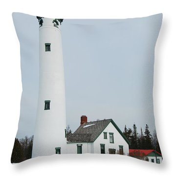 Presque Isle Lighthouse Throw Pillow by Michael Peychich