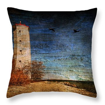 Presquile Lighthouse Throw Pillow by Lois Bryan