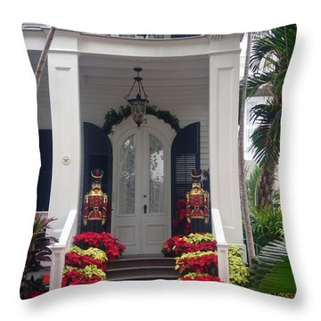 Pretty Christmas Decoration In Key West Throw Pillow by Susanne Van Hulst