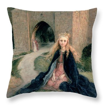 Princess With A Spindle Throw Pillow by Hanna Pauli
