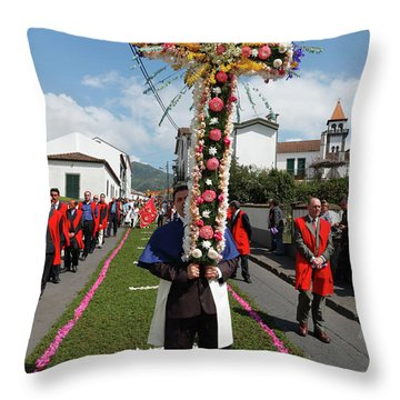 Procession In Furnas - Azores Throw Pillow by Gaspar Avila