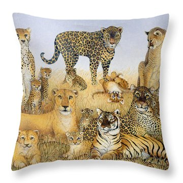 The Big Cats Throw Pillow by Pat Scott