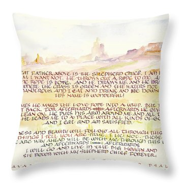 Psalm 23 Navajo Version  Throw Pillow by Judy Dodds