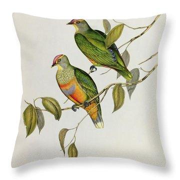 Ptilinopus Ewingii Throw Pillow by John Gould