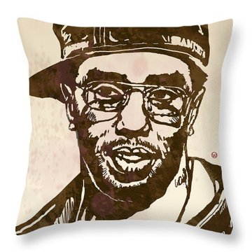 Puff Daddy Pop Stylised Art Sketch Poster Throw Pillow by Kim Wang