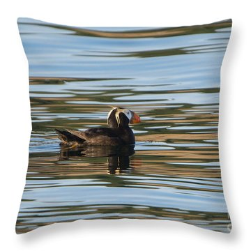 Puffin Reflected Throw Pillow by Mike Dawson