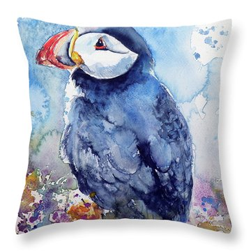 Puffin With Flowers Throw Pillow by Kovacs Anna Brigitta