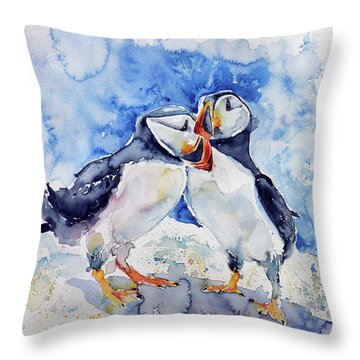 Puffins Throw Pillow by Kovacs Anna Brigitta
