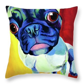 Pug - Lola Throw Pillow by Alicia VanNoy Call