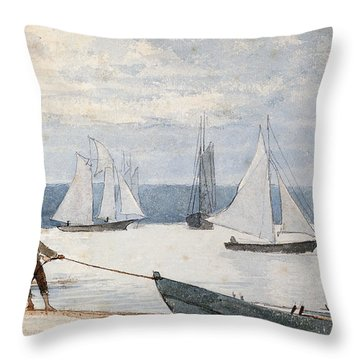 Pulling The Dory Throw Pillow by Winslow Homer
