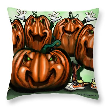 Pumpkin Party Throw Pillow by Kevin Middleton