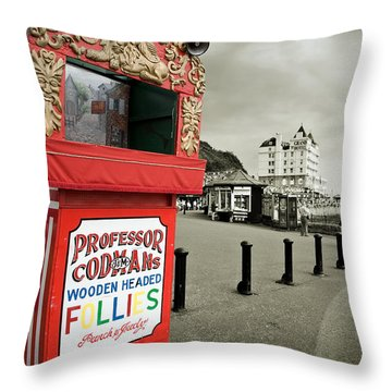 Punch And Judy Theatre On Llandudno Promenade Throw Pillow by Mal Bray