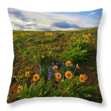 Purple And  Gold Throw Pillow by Mike  Dawson