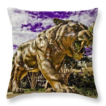 Purple And Gold Throw Pillow by Scott Pellegrin