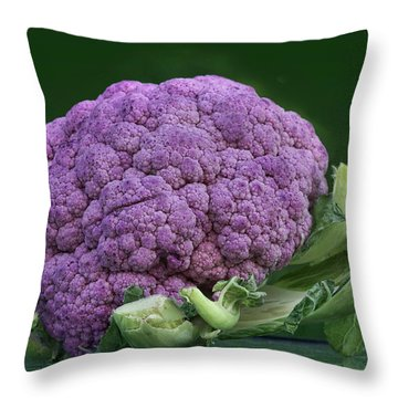 Purple Cauliflower Throw Pillow by Nikolyn McDonald
