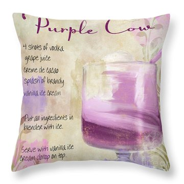 Purple Cow Mixed Cocktail Recipe Sign Throw Pillow by Mindy Sommers