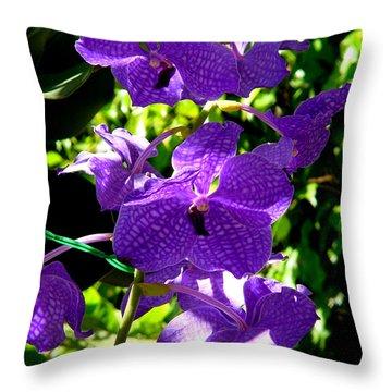 Purple Orchids Throw Pillow by Susanne Van Hulst