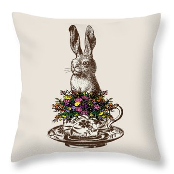 Rabbit In A Teacup Throw Pillow by Eclectic at HeART