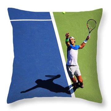 Rafeal Nadal Tennis Serve Throw Pillow by Nishanth Gopinathan