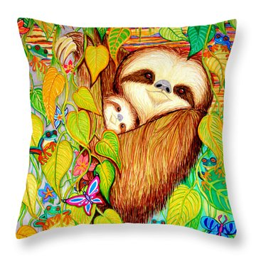 Rain Forest Survival Mother And Baby Three Toed Sloth Throw Pillow by Nick Gustafson