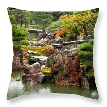 Rain On Kyoto Garden Throw Pillow by Carol Groenen