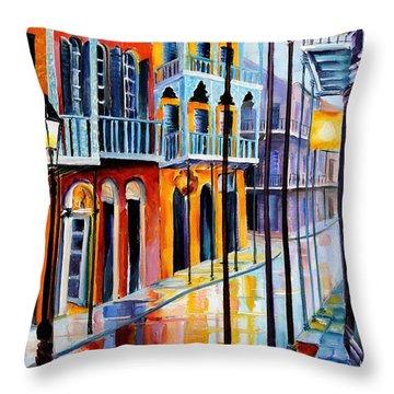 Rain On Royal Street Throw Pillow by Diane Millsap