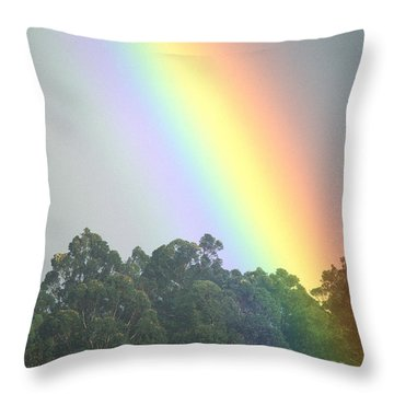 Rainbow And Misty Skies Throw Pillow by Erik Aeder - Printscapes