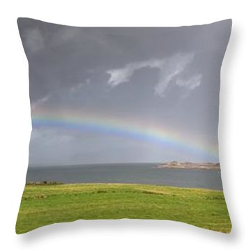 Rainbow, Island Of Iona, Scotland Throw Pillow by John Short