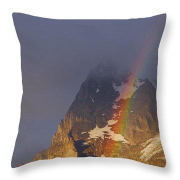 Rainbow Over Eiger Mountain Throw Pillow by Anne Keiser
