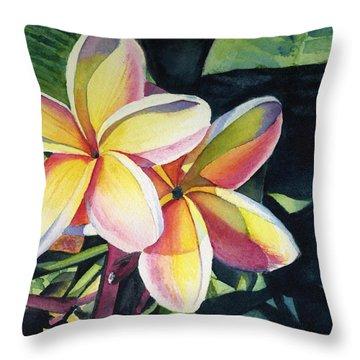 Rainbow Plumeria Throw Pillow by Marionette Taboniar
