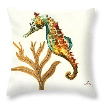 Rainbow Seahorse Throw Pillow by Juan Bosco